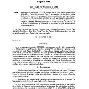 El Tribunal Constitucional ampara a un enfermo internado en contra de su voluntad