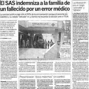El SAS indemniza a la familia de un diabético muerto por dosis excesivas de un fármaco para tratar u