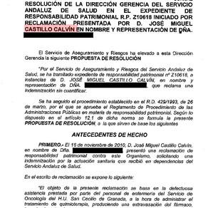 EL SAS indemniza a una enferma de cáncer que fue quemada con el líquido de la quimioterapia