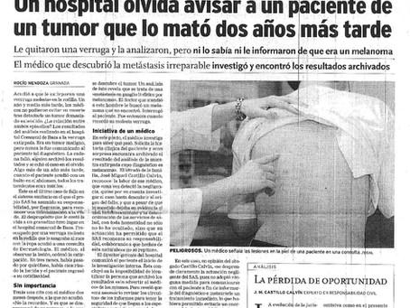 """El SAS indemniza a un paciente al que """"olvidaron"""" comunicarle que tenía cáncer"""