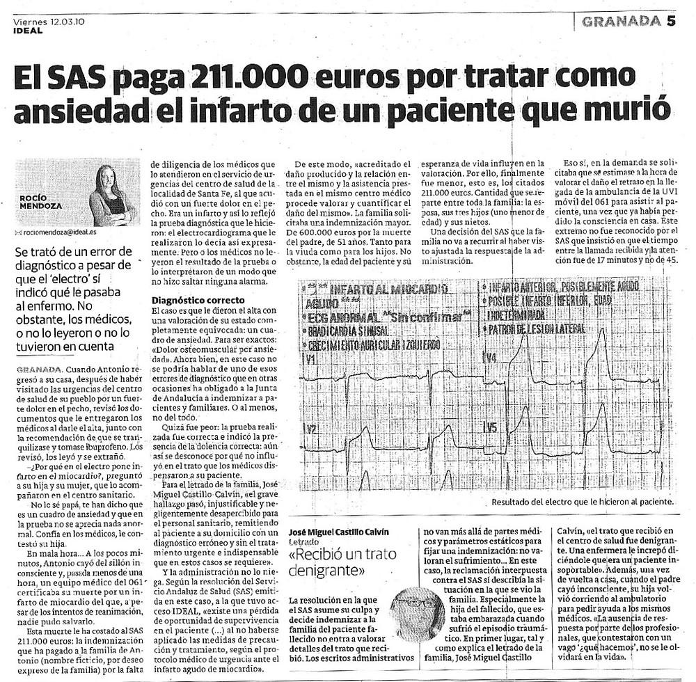 Abogados Negligencias Médicas Madrid y Granada. Mala praxis médica. Infarto. Castillo Calvín Abogados