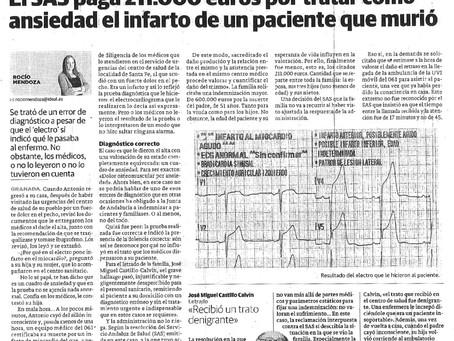 El SAS paga 211.000 euros por tratar como ansiedad el infarto de un paciente que murió en Granada