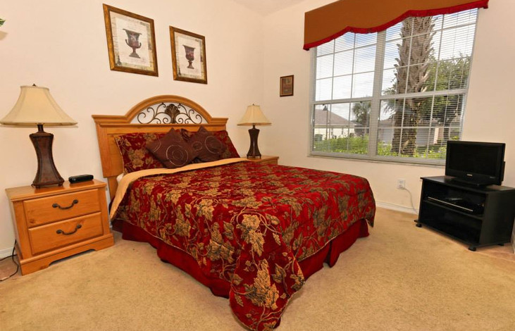 Queen bedroom with TV and DVD player