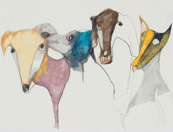 hunderudel 2009 24 x32 cm Farbstift auf