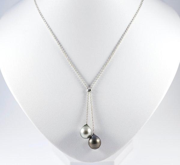Collier perle tahiti - bijoux perle de tahiti - collier perle de culture - perle noire - argent 925