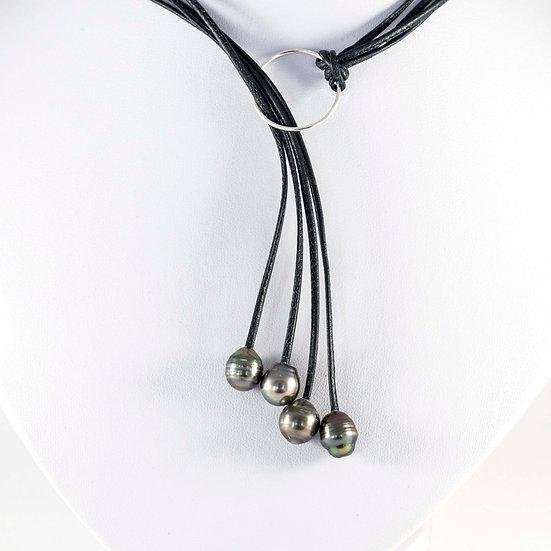 Collier lasso cuir avec perles de Tahiti