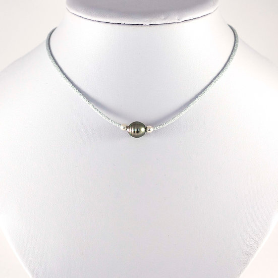 Ras de cou Lurex avec une perle de Tahiti