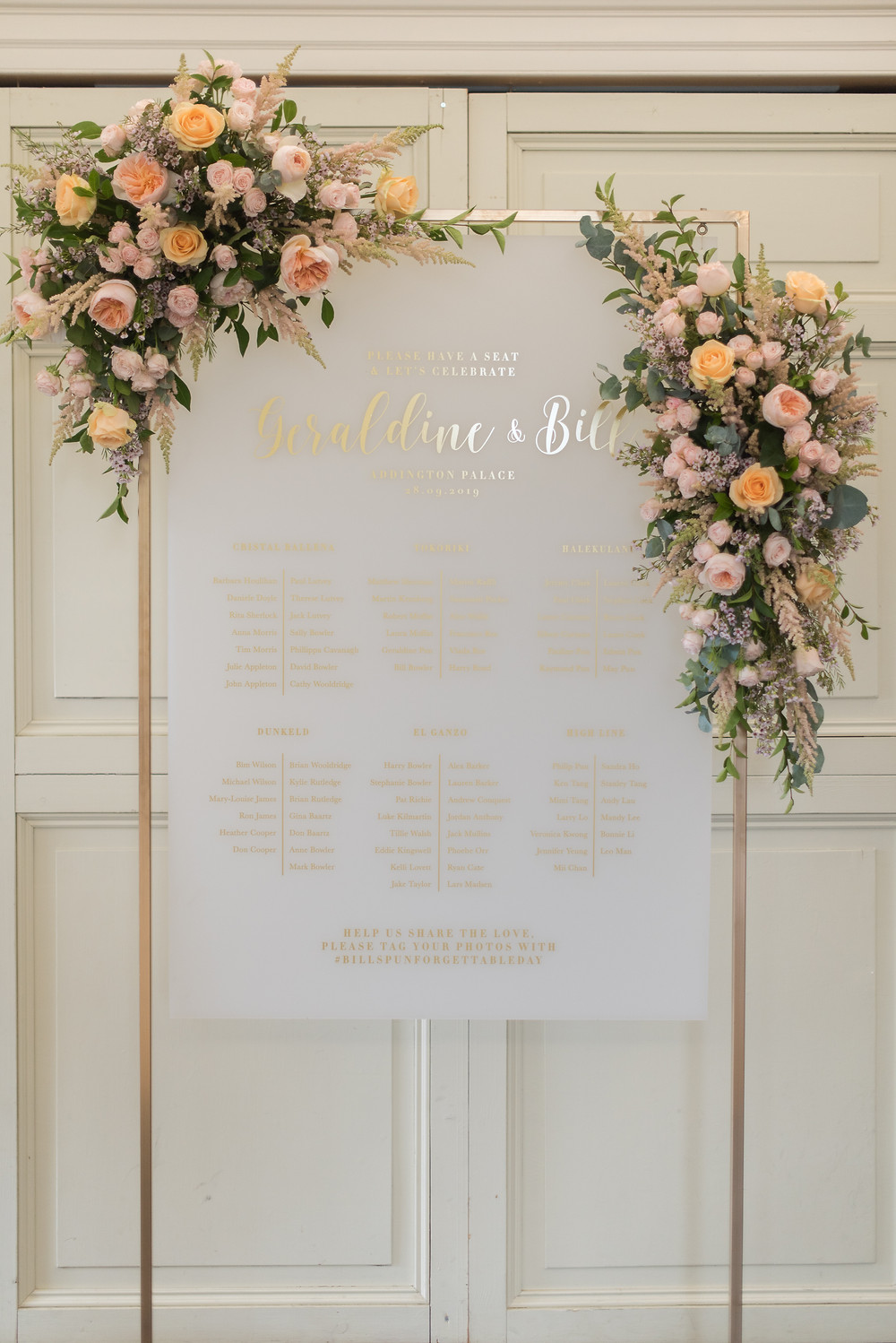 Gold Frame Acrylic Wedding Seating Plan