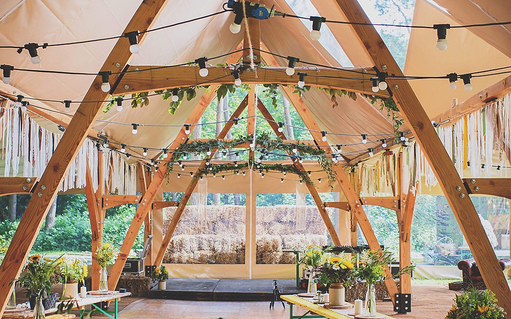 unique wooden timber luxury marquee