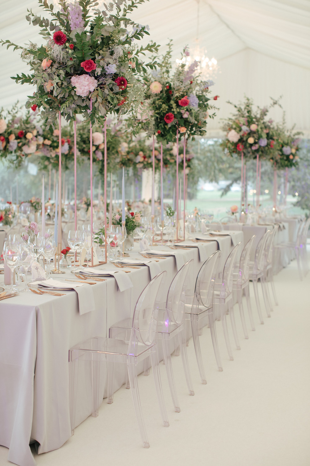 Luxury Wedding Flowers in Marquee Wedding