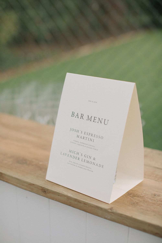 Wedding Bar Menu by Tanya at Bureau Design