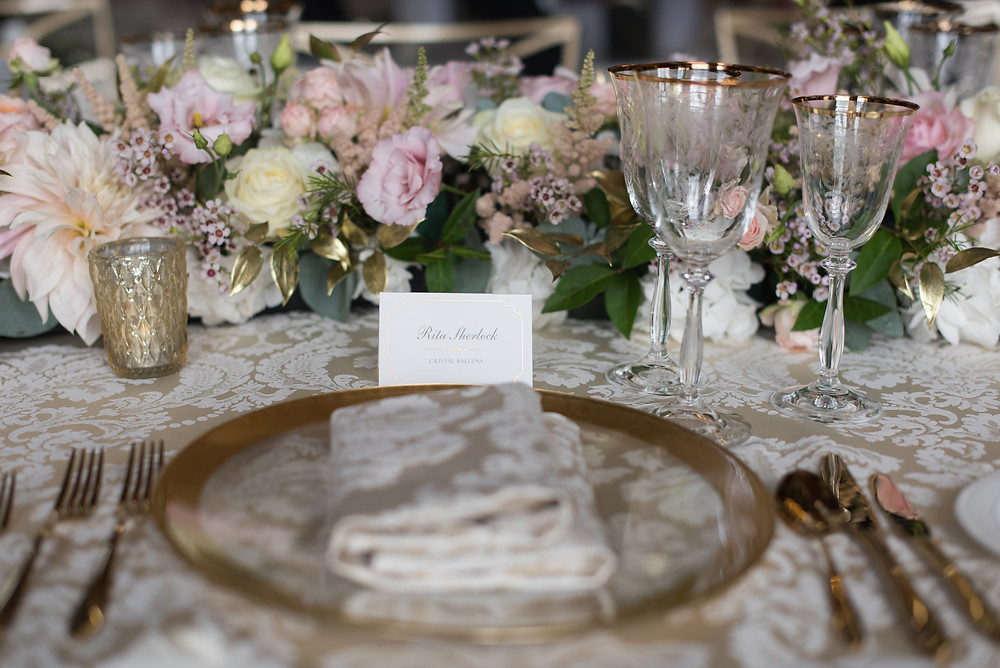 Gold and Ivory Wedding Place Settings