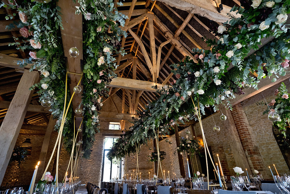 Overhead Florals in a barn wedding