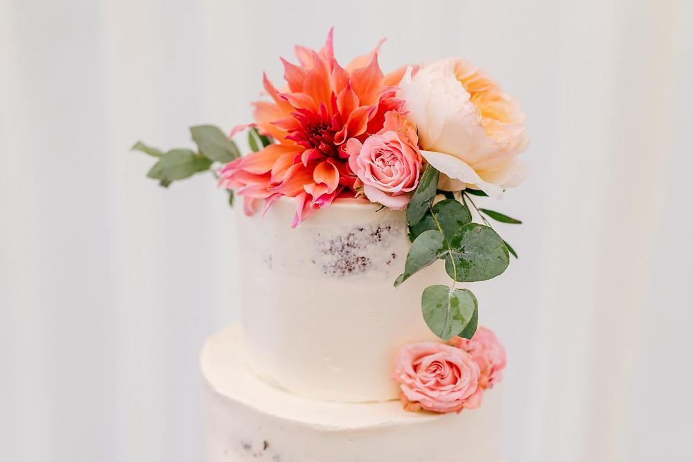 Wedding cake with peach flower detail