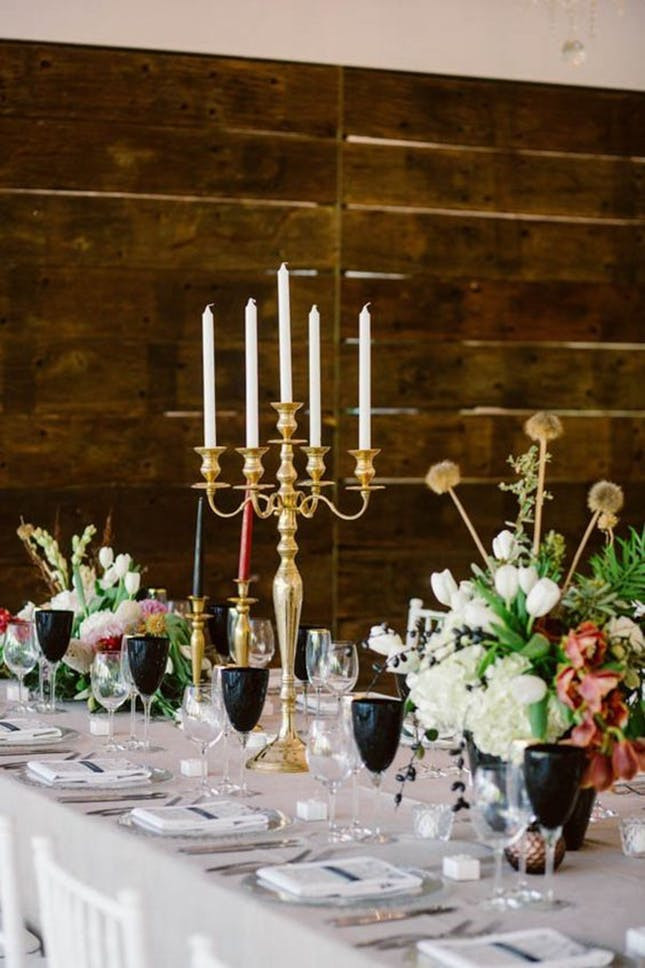 black glasses on wedding table