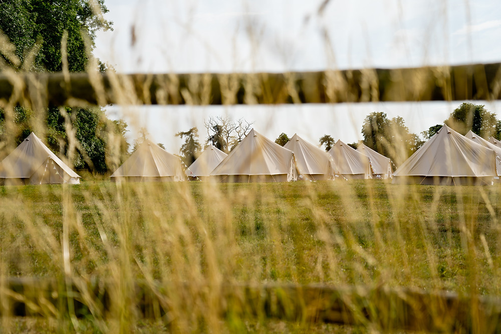 Honeybell bell tents for wedding guests planned by Weddings by Jenna Hewitt