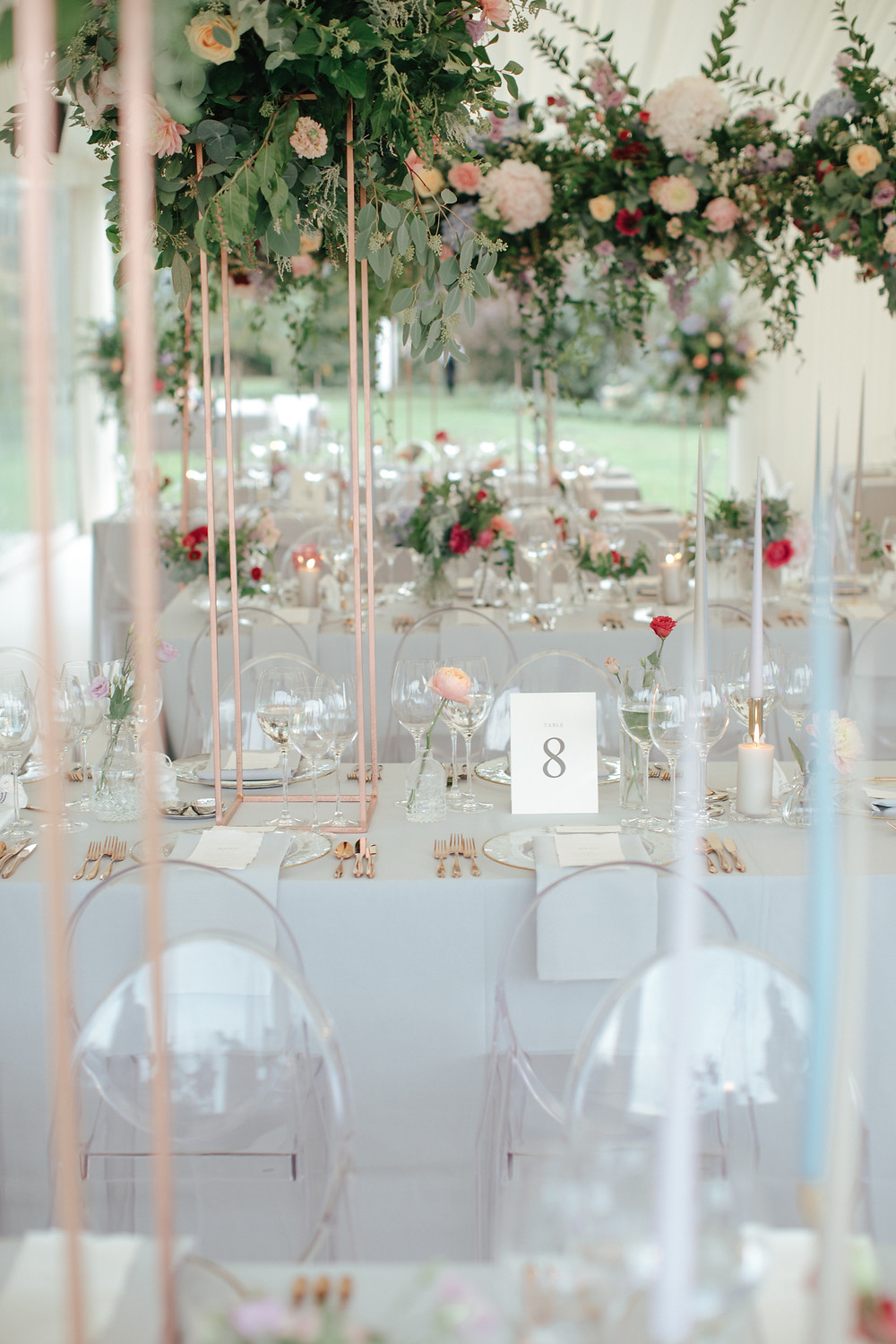 Marquee wedding with Ghost Chairs