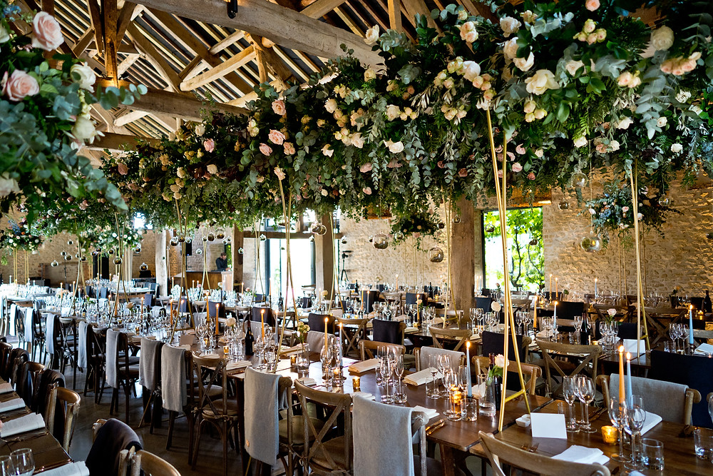 Overhead Florals at Barn Wedding