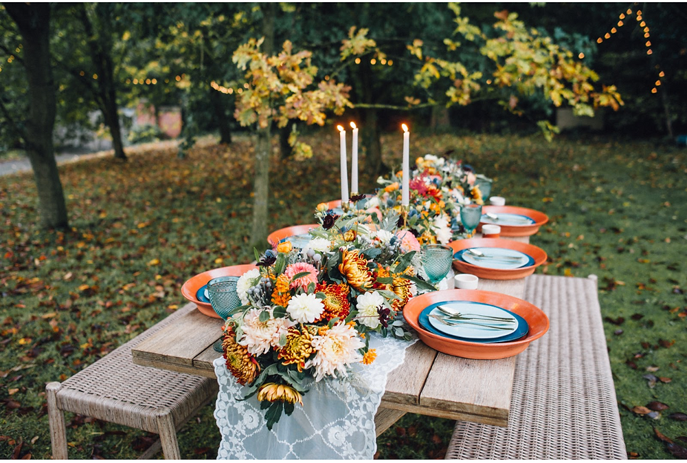 Countryside floral table setting