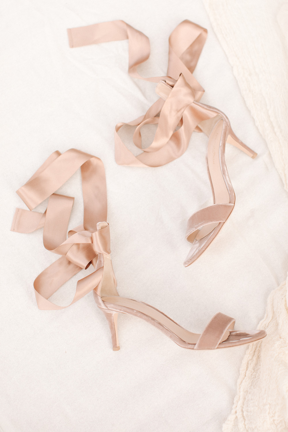 BLUSH WEDDING SHOES WITH SATIN TIE DETAIL