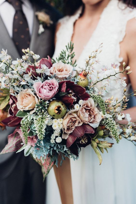 modern wedding bouquet with roses