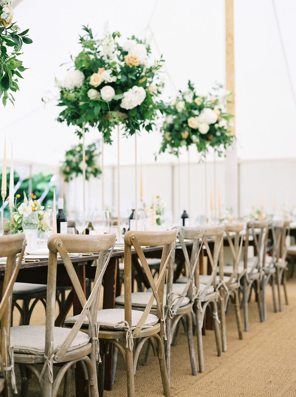 laid back luxury marquee wedding with cross back chairs and seat pad ties, styled by Jenna Hewitt, wedding planner
