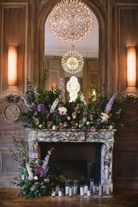 Cowley Manor Wedding Floral Fireplace
