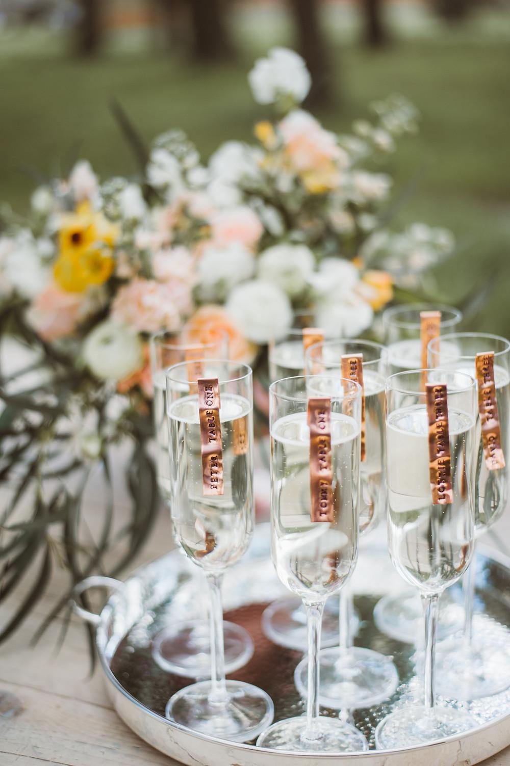 Champagne Wedding Escort Cards