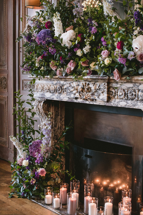 Wedding Flowers Adorning Fireplace