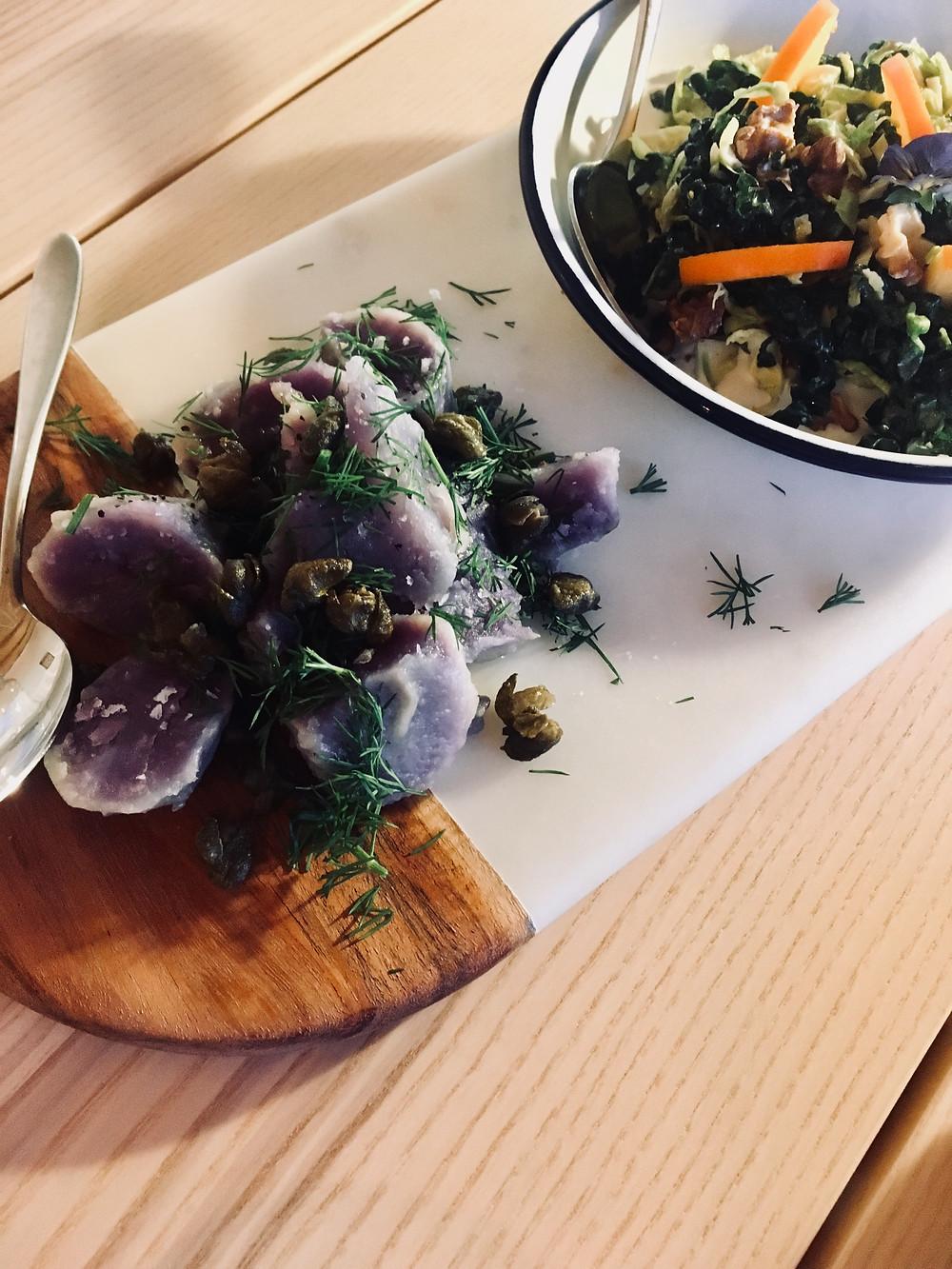 Purple Potatoes and Winter Salad