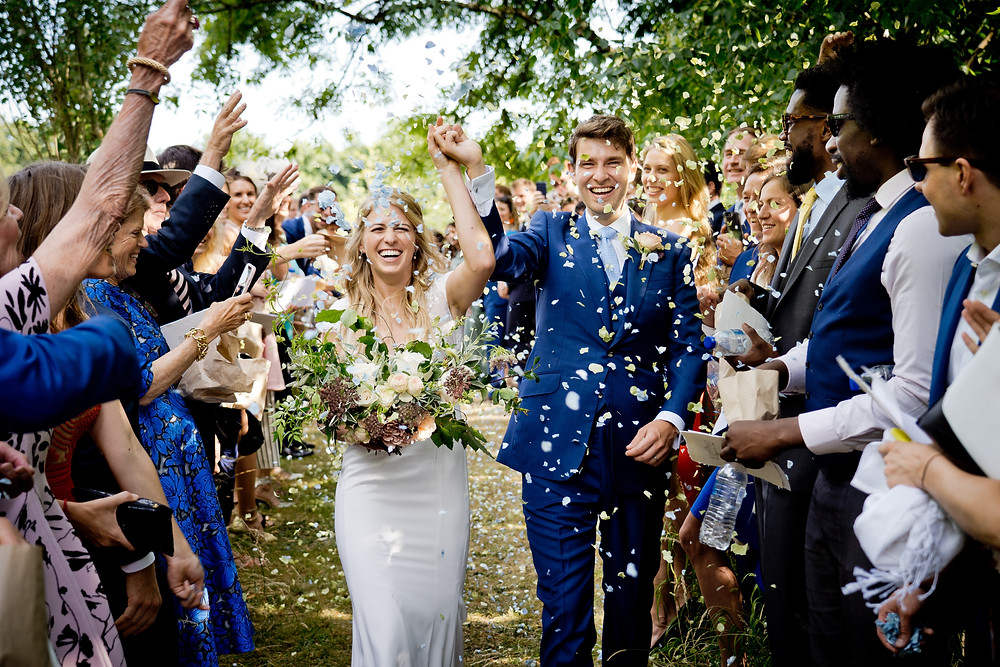Confetti wedding shot