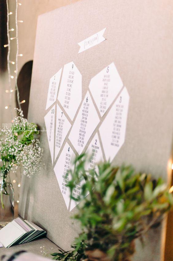 heart shaped geometric wedding table plan
