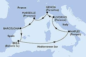 MSC Seaside - España, Ibiza, Italia, Fra