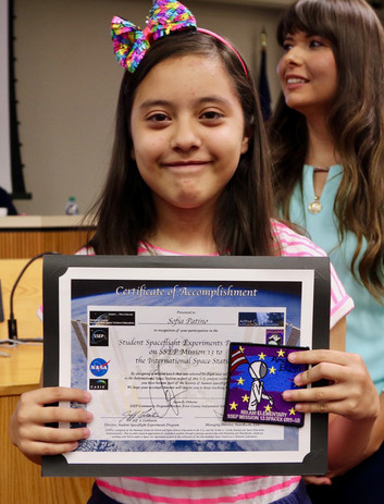 Mission 13 Elementary Mission Patch Winner,  Sofia Patino
