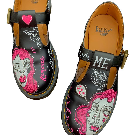 Love Me Not Hand Painted Dr Martens