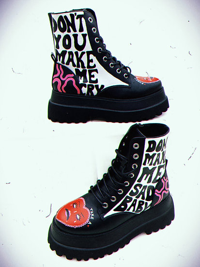 'Sweet Talk' One Off Hand Painted Platform Boots