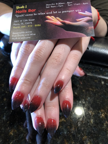 Ombre black-blood red