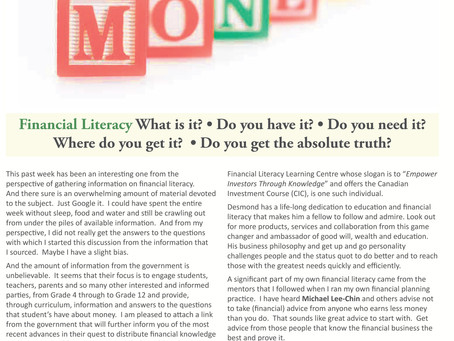 Financial Literacy: What is it? Do you have it? Do you need it? Where do you get it?
