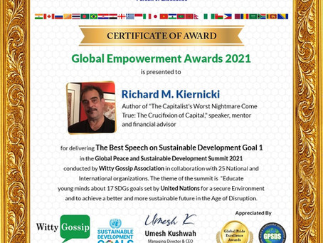 Global Peace & Sustainable Development Summit 2021 Speech & Award