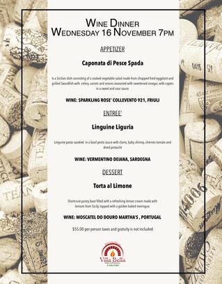 Villa Bella wine dinner, come on down!
