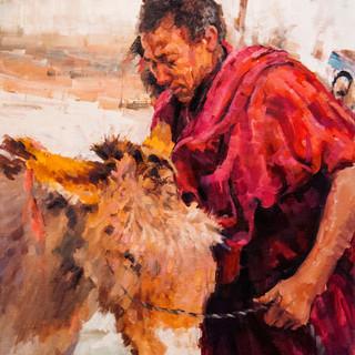 Monk with donkey