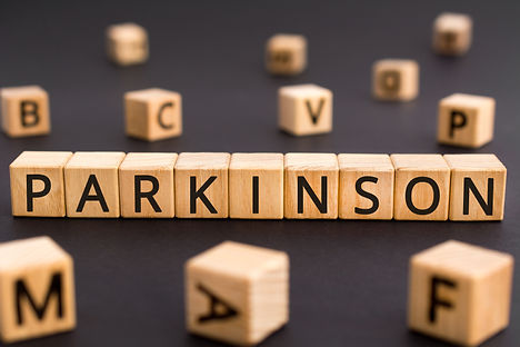 Parkinson - word from wooden blocks with