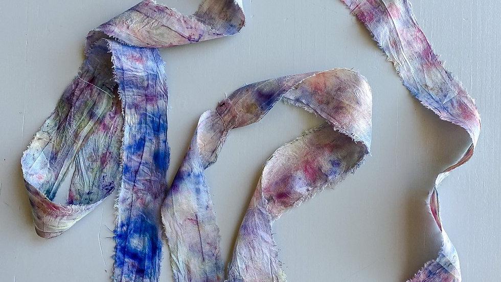 Botanically Printed Silk Sari Ribbon • 3 yards
