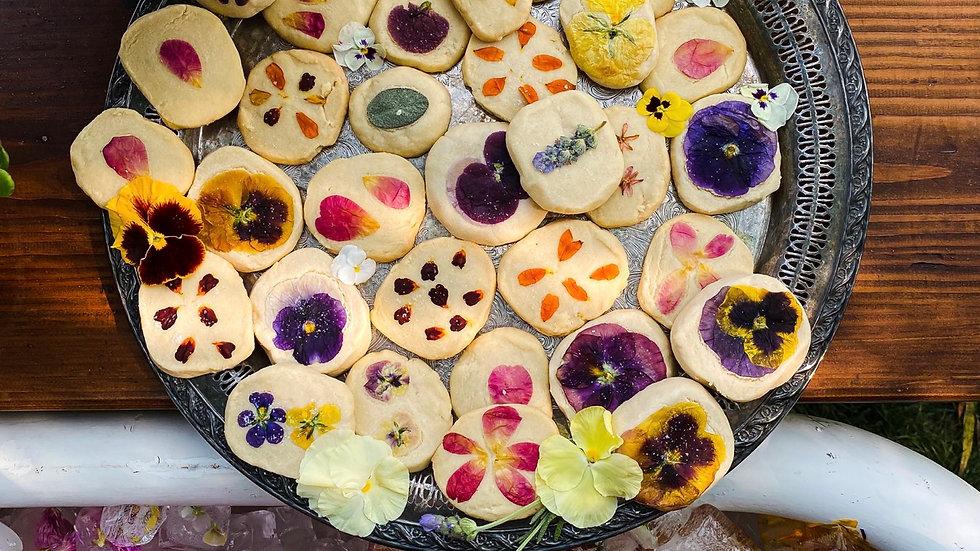 Shortbread Cookies - Pressed Edible Flowers