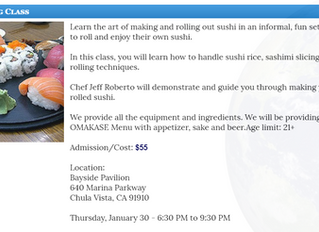 Sushi Making Class with Jeff Roberto January 30th