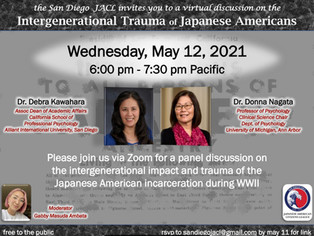Join us for a discussion on the Intergenerational Trauma of Japanese Americans Wednesday May 12th