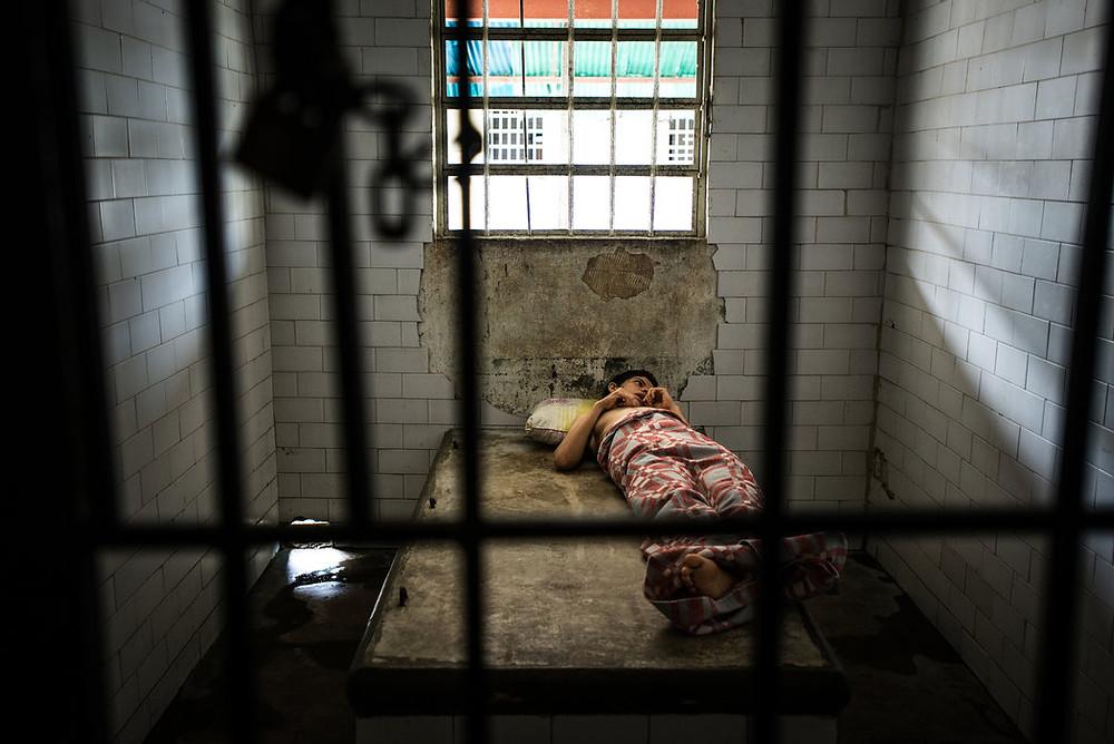 Yusmar Torres, pacjent w izolatce w El Pampero. Meridith Kohut dla The New York Times