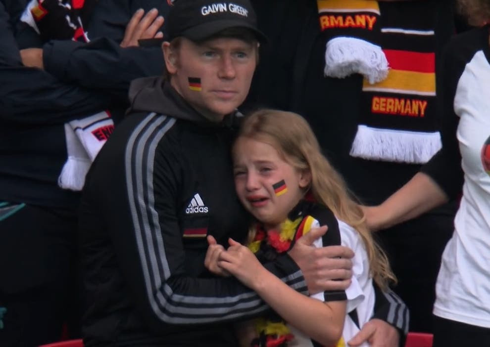 Young German fan reacting to Euro 2020 result