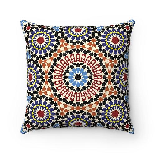 43 x 43cm Moroccan Geometric Design Original Tiles Cushion Pillow Cover - Multi