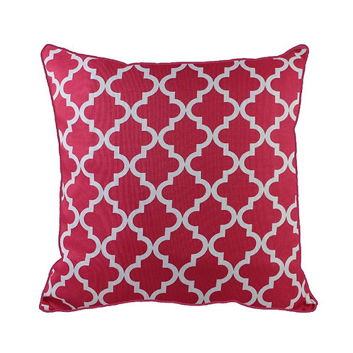 43 x 43cm Geometric Quatrefoil Design Moroccan Tiles Cushion Cover - Pink